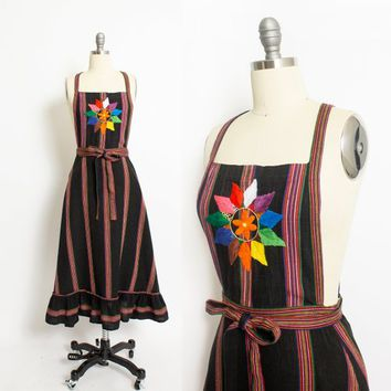 Vintage 1970s Wrap Dress - BACKLESS Rainbow Woven Black Cotton Embroidered -  Small