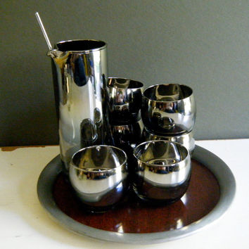 Smoky Mirrored Glass Martini Set w Roly Poly Glasses, Umbre Faded Smoky Chromed Glass, Pitcher w Stirrer and 6 Glasses, Mad Men Perfect