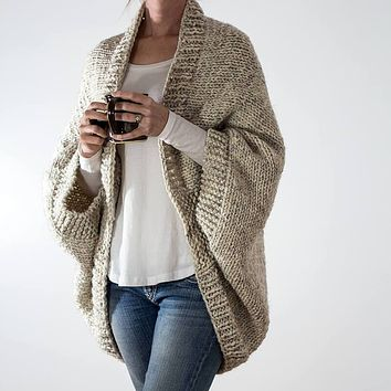Oversized 3/4 Sleeve Batwing Sweater Cardigan