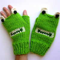 Fingerless Frog Mittens - Adult Fingerless Frog Gloves