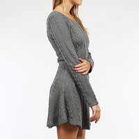 Crisp Air Sweater Dress - Charcoal