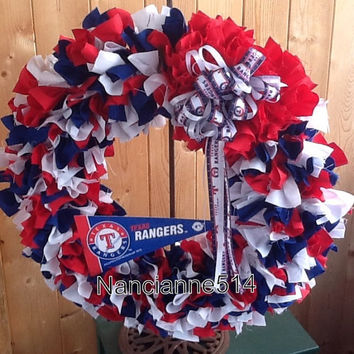 Texas Rangers full 20 inch RAG WREATH with a twist.  Custom orders encouraged ...