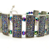 Rhinestone Cuff, Teal and Purple Bracelet, Peacock Colors, Double Strand Bracelet, Gift for Women