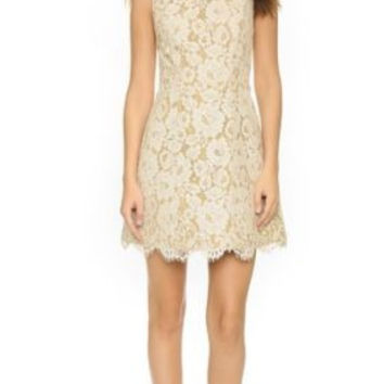 alice olivia Leann Sleeveless Bell Dress Floral Lace cotton-blend guipure