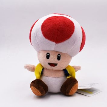Super Mario party nes switch 7'' 18cm  Bros Plush Toys Mushroom Toad Soft Stuffed Plush Doll with Sucker Baby Toy  Pendant   AT_80_8