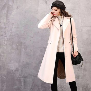 PLT Pale Pink Fitted Wool Blend Long Coat