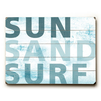 Sun Sand And Surf by Artist Peter Horjus Wood Sign