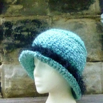 Winter Hat with Brim - Crochet Teal Blue with Black Furry Brim