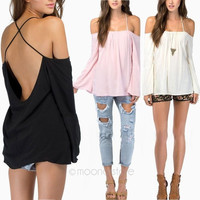 New Fashion Sexy Womens Loose Chiffon Tops Off shoulder Shirt Casual Blouse Vest = 1932212612