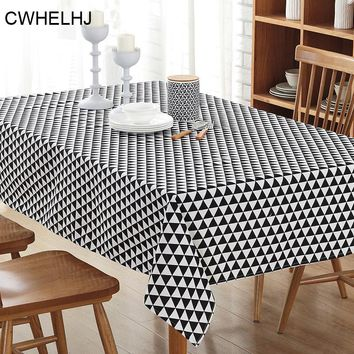 Nordic Striped Plaid Rectangular Table Cloth Linen Cotton Geometric Printed Kitchen Wedding Party Banquet Decoration Tablecloth