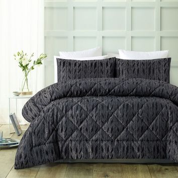 3 Piece 300TC Tate Jacquard Comforter Set by Accessorize