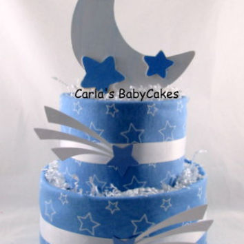 Moon and Stars Diaper Cake,Baby Diaper Cake,Blue Diaper Cake,Baby shower Centerpiece,New Mom Gift,Baby Shower Gift,New Baby Gift