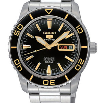 Seiko Series 5 Sports Automatic Mens Watch - Black Dial w/ Gold-Tone - Stainless