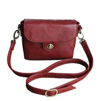 MapleClan Vintage Cute Pu Leather Cross-Body Bag Shoulder Handbag For Women Red