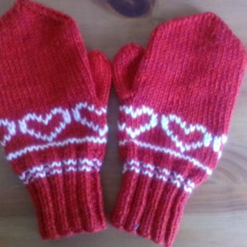 red wool mittens hand knit red gloves wool knit mittens red wool gloves women knit red gloves Valentine's day gift red hand knit gloves