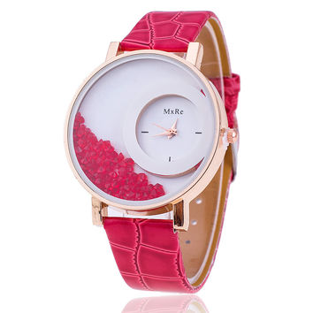 Leather Strap Rhinestone Watch