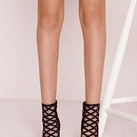 Missguided - Laser Cut Caged Heeled Boots Black