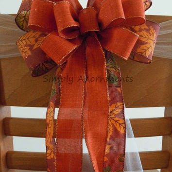 Burnt Orange Rustic Burlap Bow Thanksgiving Wreath Bow Fall Orange Wedding Pew Bow Burnt Orange Fall Ceremony Decoration Party Decoration
