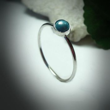 Stacking Ring Silver Sleeping Beauty Turquoise Gemstone