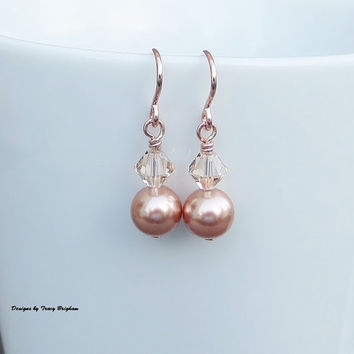 Wedding Earrings 14k Rose Gold filled Swarovski Pearls and Crystal Bridesmaid Bride Mother of the Bride Maid of Honor Gift Idea Customizable