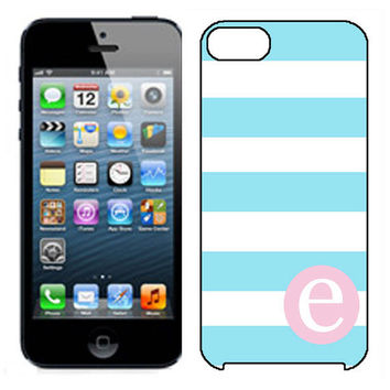 Monogrammed iPhone 5 Case  Wide Stripe Blue by EliteCases on Etsy