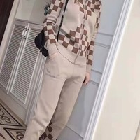 """LOUIS VUITTON"" Woman Leisure Fashion Lattice Printing Zipper Spell Color Long Sleeve Trousers Two-Piece Set Casual Wear"