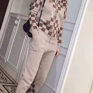 """""""LOUIS VUITTON"""" Woman Leisure Fashion Lattice Printing Zipper Spell Color Long Sleeve Trousers Two-Piece Set Casual Wear"""
