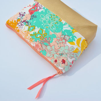 Pretty makeup bag,Bridesmaid bag,gold leather pouch, mint and coral, leather bridesmaid bag, mint and gold bag, floral bag