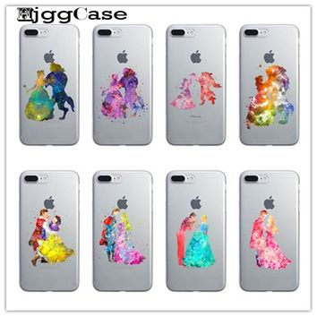 Cinderella and the prince Watercolor Beauty and the beast Case For iPhone 6 6s 5 5C SE 7 7Plus 4 Silicone Cell Phone Cases Cover