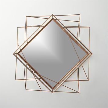 "piazza wire 22.5""x22.5"" wall mirror"