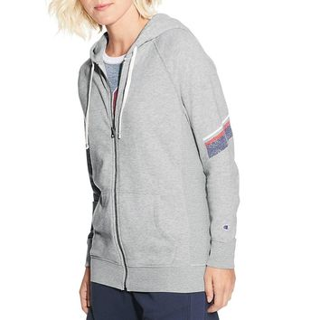 Champion Womens  Heritage French Terry Zip Hoodie With Stripes