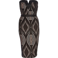 River Island Womens Black lace overlay bandeau pencil dress