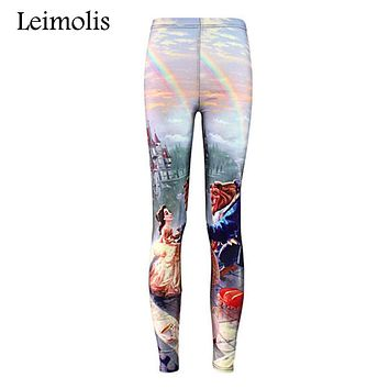 Leimolis Tenths adventure time punk rock Harajuku black milk push up fitness sexy 3d print Beauty and the Beast women leggings