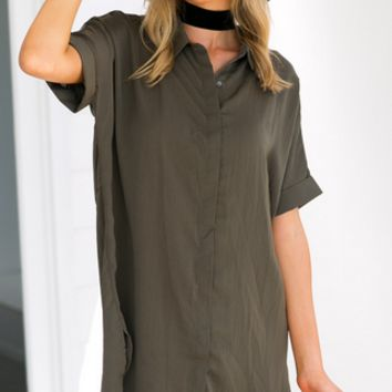 Fashion short sleeve long shirt dress with belt