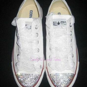 DCKL9 Adult 'Bling' converse in your choice of color & ribbon shoelace to match. Super cute
