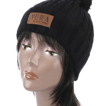 Black Pom Pom Cable Knit Winter Beanie Hat And Cap