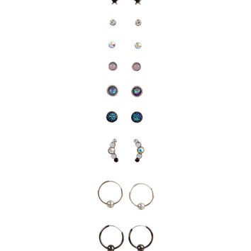 Galaxy Stud & Hoop Earring Set