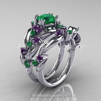 Nature Classic 14K White Gold 1.0 Ct Emerald Amethyst Leaf and Vine Engagement Ring Wedding Band Set R340S-14KWGAMEM