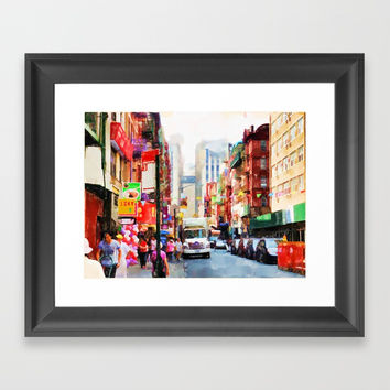 Chinatown in New York Framed Art Print by lanjee