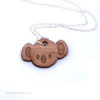 Koala Pendant Cute Bamboo Laser Cut Wood Wooden Necklace Fun Koala Bear Animal Jewelry Gifts For Friends Sister Girlfriend Teens Girls Her