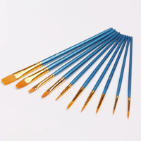 10 pcs/lot New Nylon Wooden Handle Paint Brush Set for Kids Watercolor Gouache Drawing Painting Art Supplies Free shipping 752