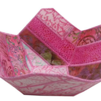 Fabric Bowl in Pink Batik Fabrics
