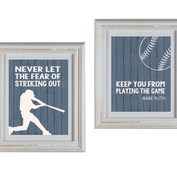 "Baseball Theme ""Never Let the Fear of Striking Out Keep You From Playing The Game"" Nursery Art DIY Printable-  Baby Boy Nursery Art"