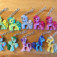 My Little Pony Keychains + Collectors Cards [9 Ponies Available] - Rainbow Collection - Friendship is Magic FIM - re-purposed toys