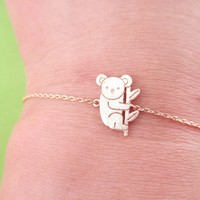 Adorable Koala Bear Shaped Silhouette Charm Bracelet in Rose Gold | Animal Jewelry