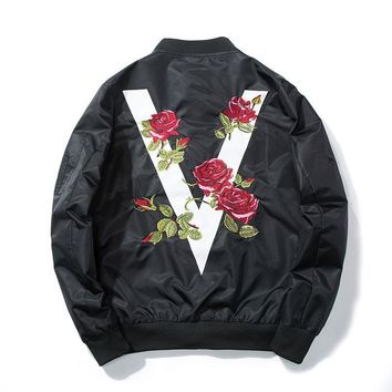 ca kuyou Rose Embroidery Baseball Jacket