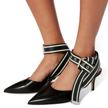 Racing Striped Kitten Heels