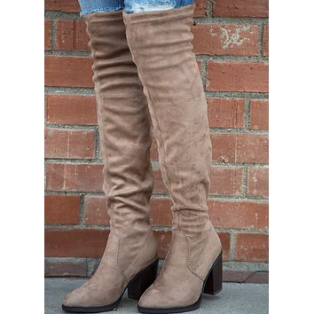Veronica Over the Knee Boot - Taupe