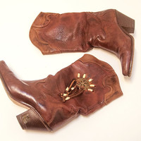 Brown Distressed Leather Zodiac Fringe Boots 7 Womens Boho Western Vintage Cowboy Boots 6.5 7.5 | Dreamcatcher Turquoise Stone Concho Detail