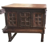 Antique Console Carved Iron nailed Chest, Damchia Banjara Tribal Sideboard, Buffet  Jaipur India 18c